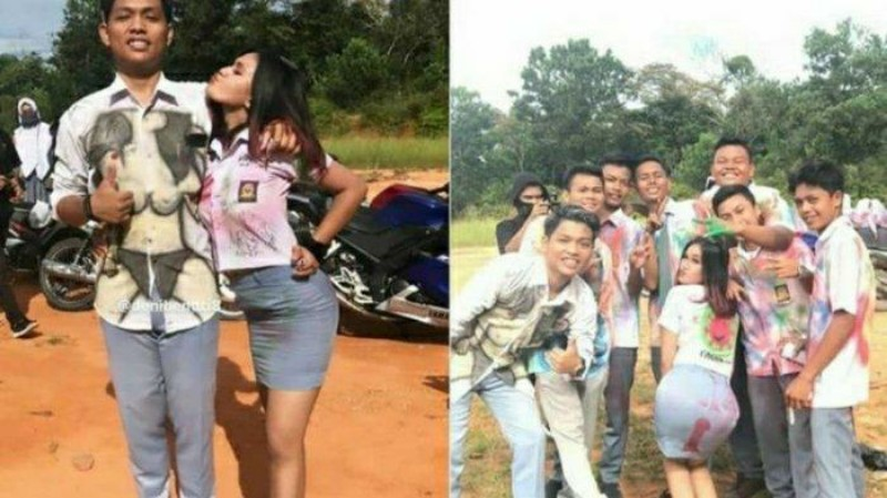 siswa dan siswi sma negeri 1 kunto darussalam merayakan kelulusan corat coret - Publiknews