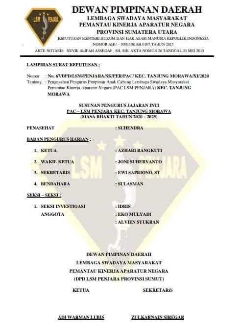 Terima SK PAC LSM Penjara, Azhari Siap Pantau Kinerja Aparatur Kecamatan Tanjung Morawa